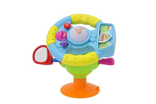 JAMARA 460509 - Lenkrad 1Step Baby Drive - fördert Feinmotorik und Orientierungssinn, verstellbarem Winkel, großer Saugnapf, Motor-und Fahrsound, DREI Hup-Geräuschen, Musiktaste, mehrfarbig