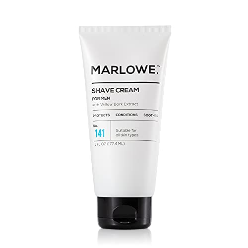 MARLOWE. Shave Cream with Shea Butter & Coconut Oil No. 141 6 oz   Natural Shaving Better than Gel   Men and Women   Light Citrus Scent   Best for a Close Shave   Sensitive Skin Approved