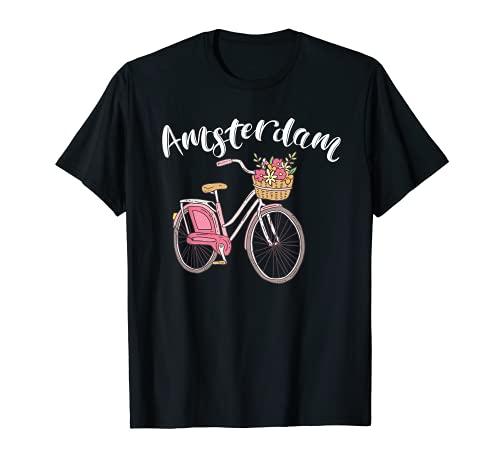 Amsterdam Fahrrad Stadt Retro Radfahren T-Shirt