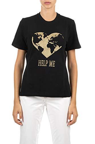 Alberta Ferretti T-Shirt schwarz mit gesticktem Frontprint Help Me, Schwarz Medium