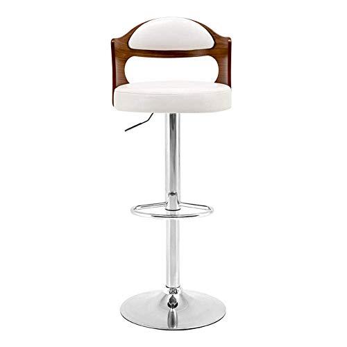 Moderne Barhocker Holz Barstühle Frühstück Esszimmerhocker mit Fußstütze für Kücheninsel Theken Barhocker Weißes Kunstleder Verstellbare Drehhocker mit Rückenlehnen