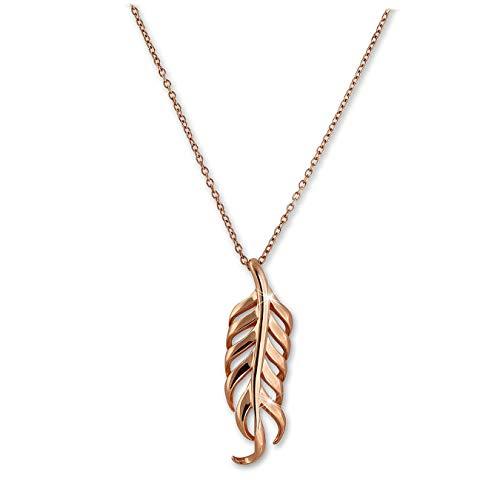 SilberDream SDK50544E - Collana con ciondolo a forma di piuma, 44 cm, 47 cm, in argento Sterling 925, colore: Rosa