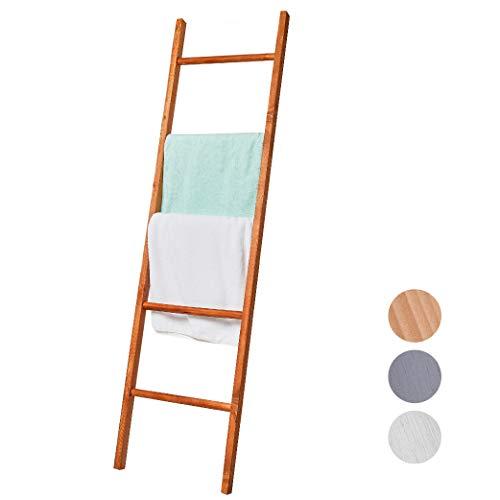 BALIBETOV Escalera Decorativa de Madera Pino Premium - Escalera Ideal para Colgar Toallas o Mantas - Organizadora para Baño, Living u Oficina. Moderna Chic (Marron, 150 cm)