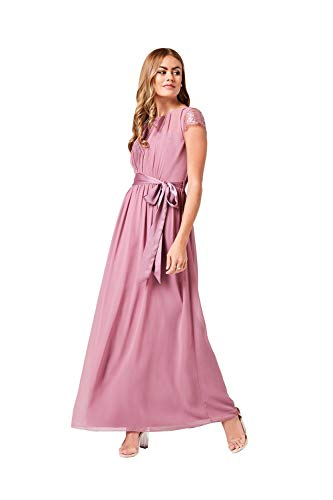 Little Mistress Phoebe Lace Sleeve Maxi Dress Vestido Fiesta Mujer, Rosa (Canyon Rose 001), 44 (Talla del Fabricante: 16)
