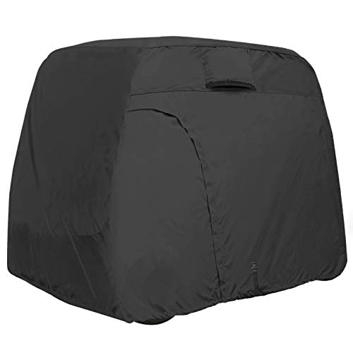 Explore Land 600D Waterproof Golf Cart Cover Fits for Most Brand 4 Passengers Golf Cart (Black)