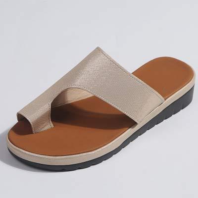 MYSdd Zapatos de Cuero PU para Mujer Plataforma cómoda Suela Plana Señoras Casual Soft Toe Foot Correction Sandal Orthopedic Bunion Corrector - Dorado, 12