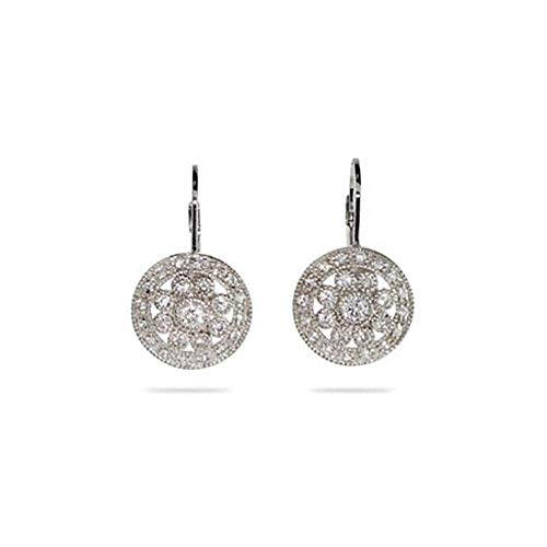 Hot Sale Sparkling Vintage Style Round Drop CZ Leverback Earrings