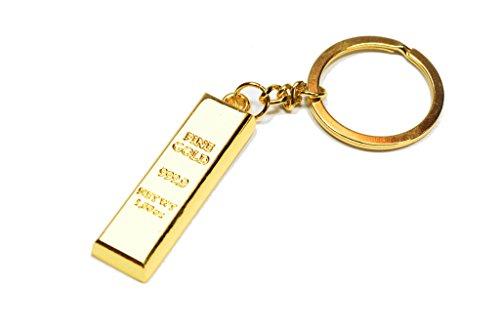 Schlüsselanhänger Goldbarren 999er Fine goldfarben (Imitat) | Geschenk | Geld | Männer | Frauen | Dollar