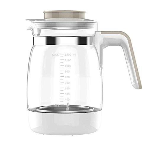 MWPO Jarra de 1,2 l/litro con Tapa, Jarra de Vidrio Salida Grande Jarra de Agua Calor Recipiente Transparente a Prueba de Agua Tetera de Vidrio Tetera Jarra de Jugo de café (Olla Individual, si