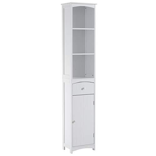 Homcom Meuble Colonne de Salle de Bain Moderne 34L x 24l x 170H cm Blanc