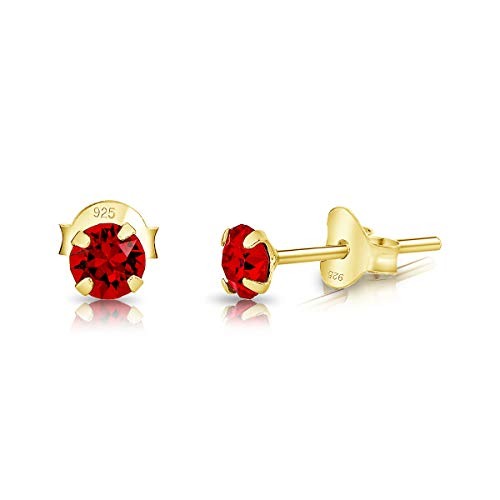DTPSilver - 925 Sterling Silver Yellow Gold plated Round TINY Stud Earrings made with Glittering Crystals from Swarovski Elements - Diameter: 3 mm - Colour : Red Light Siam