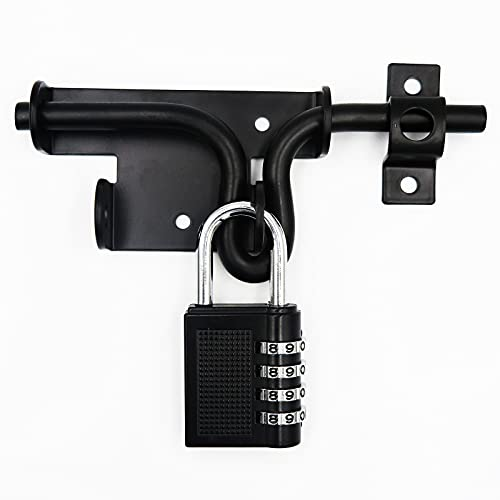 LAJIAOZ Black Heavy Duty Slide Bolt Gate Latch with Padlock Hole - Solid Hardware Thickened Metal Door Locks Gate Latches for Shed Door,Wooden Fences,Barn Doors,Yard Door(with Password Padlock)