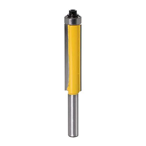 8MM Vástago Bit de fresadora de corte al ras con rodamiento para patrón de plantilla de madera Fresa de carburo de tungsteno Fresa (Color: Plata)