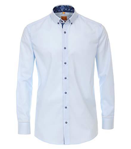 Redmond Herren Popeline Hemd unifarben Modern Fit 100% Baumwolle