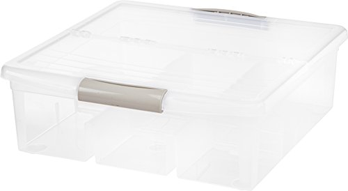 IRIS USA MCB-LMB Large Divided Media Storage Box, Clear