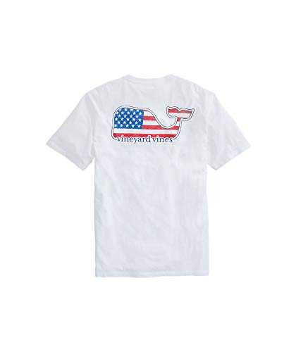 Vineyard Vines Men's Short-Sleeve Americana Whale Pocket T-Shirt, White Cap, XX- Large