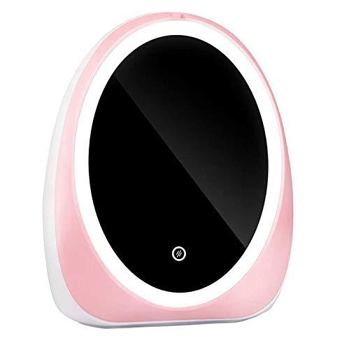 AZYJBF Inicio Mujeres Organizador de Maquillaje con Carga USB Organizador de Maquillaje Caja de Almacenamiento de Cosméticos Cajón Portátil Espejo LED Giratorio, para Tocador, Dormitorio,Rosado