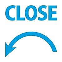 左回り 半時計回り CLOSE 閉める シール ステッカー カッティングステッカー 光沢タイプ・防水 耐水・屋外耐候3~4年 (青, 50mm)
