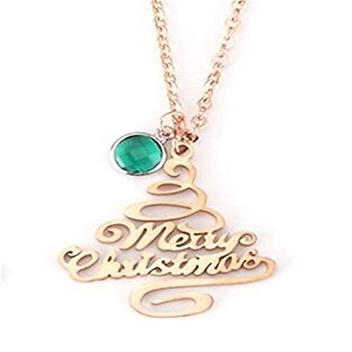 Árbol de Navidad feliz con bastones de caramelo colgantes Collares mujeres regalos joyería acero inoxidable (oro rosa) 🔥