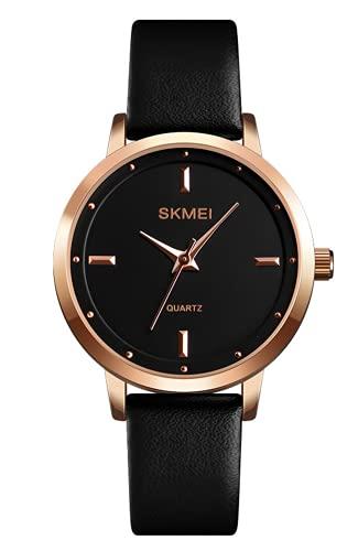 Reloj Mujer Negro Impermeable Cuero Relojes de Pulsera Minimalista Diseñador Analógicos Relojes Mujer Niña Elegante Clásico Casual