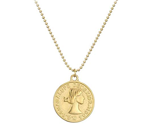HAOYU Collar de Moneda de Oro de Titanio Moneda Mexicana Collar de Monedas de Oro Cadena de clavícula Femenina de Viento frío