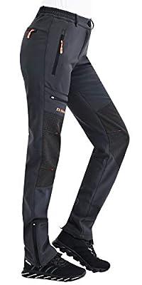Postropaky Women's Outdoor Snow Ski Pants Waterproof Windproof Fleece Slim Hiking Softshell Pants (Grey, 10 Tall)