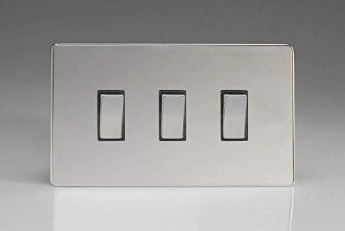 Varilight 3-Gang 10A 1- or 2-Way Rocker Light Switch (Twin Plate) Polished Chrome XDC93S