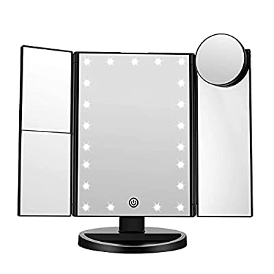 FASCINATE Trifold Led Lighted Makeup Mirror, 2X/3X Magnification Vanity Mirror with LED Lights, 360° Rotation Touch Screen Cosmetic Mirrors, and Dual Power Supply (Black)
