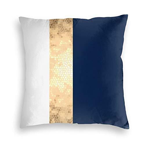Elegantes fundas de cojín de terciopelo con franjas blancas, color dorado, azul marino y blanco, fundas de almohada cuadradas para sofá, dormitorio, coche, con cremallera invisible, 45,7 x 45,7 cm