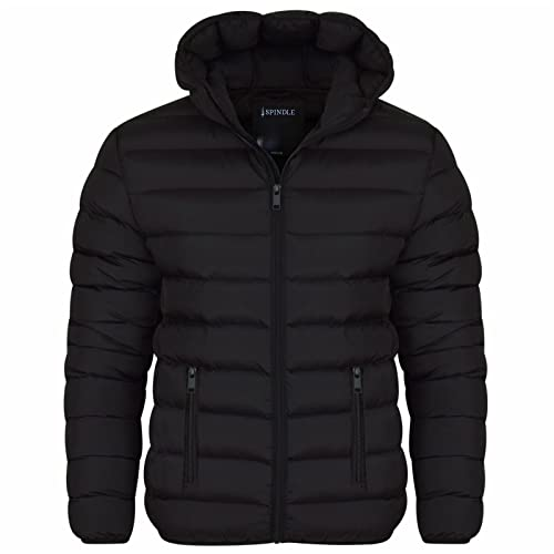 Spindle Mens Plain Black Hooded Padded Quilted Puffer Jacket Winter Coat 2 Zip Pockets Black M