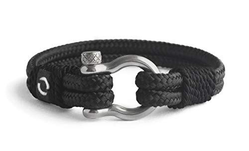 Mens Rope Bracelet - Stainless Steel Silver Shackle, Extremely Durable and Scratch Resistant Waterproof Paracord, Handmade, Nautical Wristband for Men 3-7