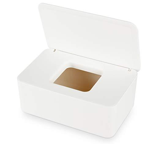Aoligei Feuchttücher Box, Baby Feuchttücherbox, Baby Tücherbox, Box Feuchtes Toilettenpapier, Kosmetiktücher Box, Kunststoff Feuchttücher Spender mit Deckel für Zuhause und Büro(Weiß)