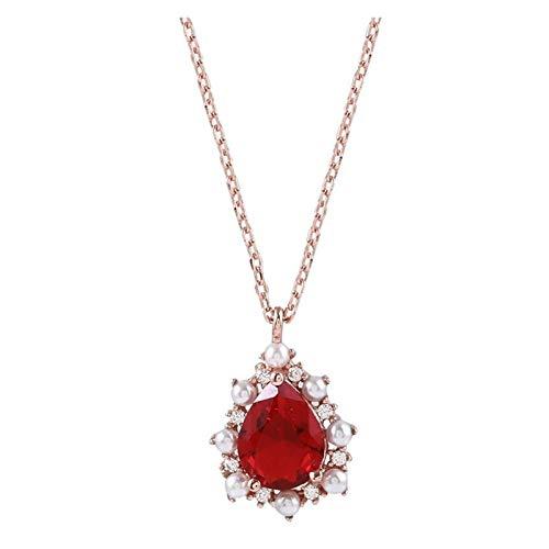 HumoliStore Collar colgante de rubí en forma de gota, collar de longitud: 45 cm, para mujer de plata 925 joyas de piedras preciosas de piedras preciosas de clavícula de perlas de peña regalo femenino