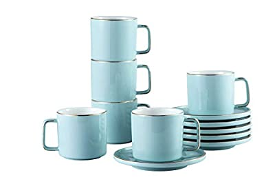 Set of 6 large 8 (OZ) Americano Cups with Saucer Porcelain Coffee/Tea Cups, Cappuccino/Latte/Espresso/Mocha Cups, Cups and Saucers with Gold Platted Rims and Handles (Blue)