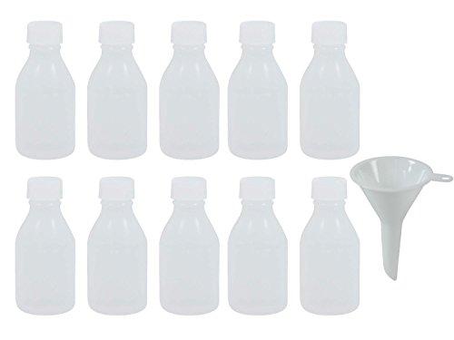 10 x Enghalsflasche 50 ml (transparent) mit Schraubverschluss, Apothekerflasche, Laborflasche, Medizinflasche, Flasche aus Kunststoff (PE-LD), BPA frei - made in Germany - inkl. Einfülltrichter