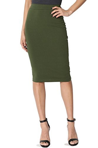 TheMogan Junior's Stretch Cotton Elastic High Waist Pencil Midi Skirt Army Green 1XL