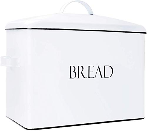 Outshine Vintage Metal Bread Bin - Countertop Space-Saving, Extra Large, High Capacity Bread Storage Box for your Kitchen - Holds 2+ Loaves 13' x 10' x 7'- White with BREAD Lettering (White)