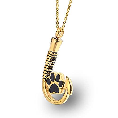Collar de urna para cenizas para PET PAW Print Memorial Ceniza Colgante Collar Collar Joyería de cremación con sostenedor de cenizas de embudo para cenizas de perro con kit de llenado ( Color : Gold )