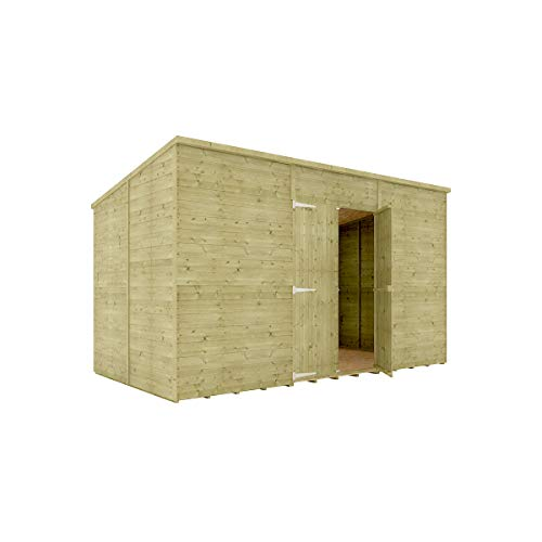 12 x 6 Pressure Treated Hobbyist Pent Shed Tongue & Groove Shiplap Cladding Construction Windowless Central Door OSB Floor Wooden Garden Shed 3.65m x 1.82m