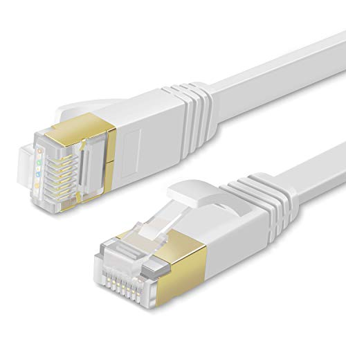TNP Cat7 Shielded Ethernet Flat Patch Network Cable - 10Gbps 600Mhz High Performance with Snagless RJ45 Connectors Gold Plated Plug S/STP Wires Networking Cable Wiring Black (50 Feet, White)