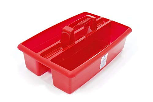 VTL® LARGE PLASTIC CARRY ALL CADDY - CLEANING - WITH HANDLE - TIDY UP - STRONG (Red)