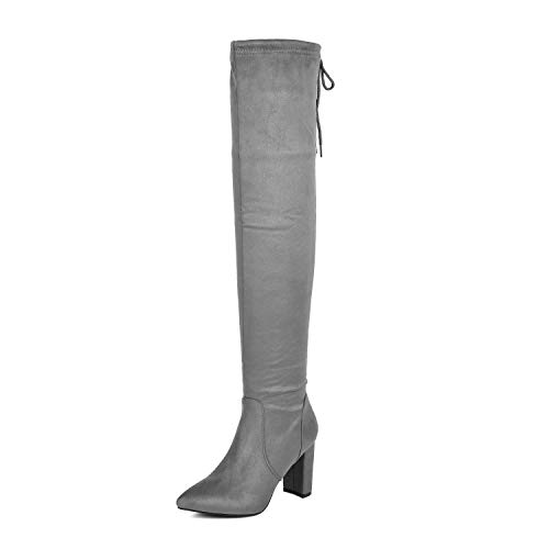 DREAM PAIRS Women's Light Grey Thigh High Chunky Heel Stretch Over The Knee Boots Size 6.5 B(M) US Natasha-1