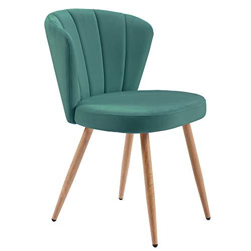 YINKUU Juego de 1 o 2 sillas de comedor de tela aterciopelada de tela de terciopelo con costuras en la parte trasera para sala de estar o dormitorio (verde, 1)