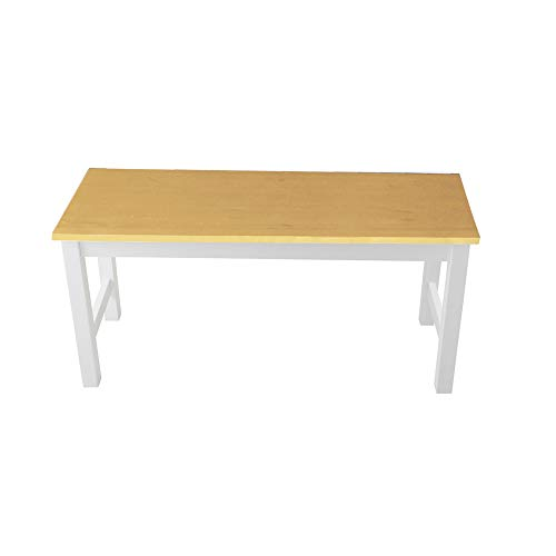 BTGGG Solid Pine Coffee Table Ideal as Dining Table Kitchen Bench Sturdy Wooden Bench Garden Doorway Seat Stool, White Frame with Natural Pine