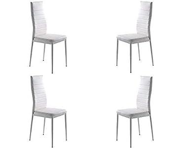 MOMMA HOME Set de 4 Sillas - Modelo Clara - Color Blanco - Material Ecopiel/Metal - Medidas 41 x 47 x 98 cm