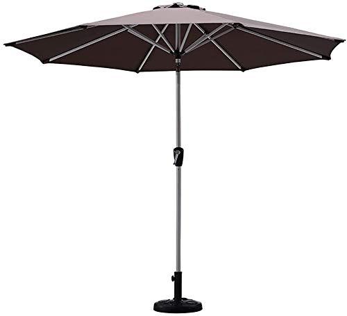 Sombrilla Parasol Jardin Parasoles de jardín Paraguas de patio marrón con tilt de pulsador y manivela, paraguas de mesa de mercado para piscina de jardín al aire libre, no desvanecimiento, sin parasol