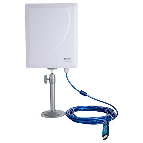TUOSHI Outdoor High Power Wi-Fi Antenna | Long Range USB Wi-Fi Extender Antenna for PCs | Support 600Mbps AC 802.11ac Dual Band 2.4 & 5 GHz-Work with R658U WiFi Router