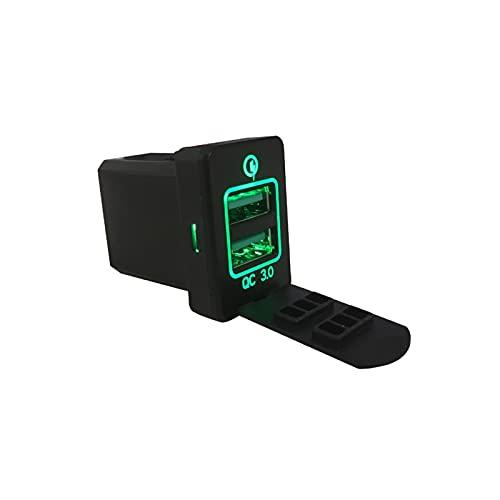 ZIMEI MEIKAI Coche Rápido 3 Cargo Dual USB Adaptador De Cargador De Teléfono De Carga Rápida Fit para Mitsubishi Outlander 3 2018 XPander 2018 Eclipse Cross ASEX (Color Name : Green)