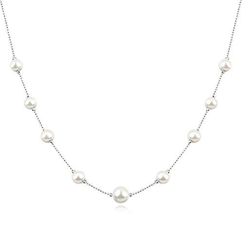 Collar de Hilo con Cristal Swarovski Perlas Blancas simuladas 18k Chapado en Oro Blanco para Mujer 45 cm