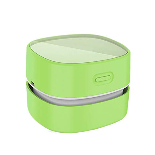 ODISTAR Desktop Vacuum Cleaner, Mini Table dust Sweeper Energy Saving,High Endurance up to 400 mins, Cordless&360º Rotatable Design for Cleaning Hairs,Crumbs,Computer Keyboard,Piano(Green)
